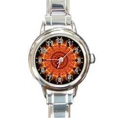 Flaming Sun Round Italian Charm Watch