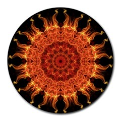 Flaming Sun 8  Mouse Pad (Round)
