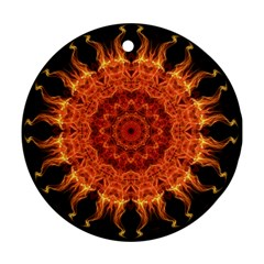 Flaming Sun Round Ornament