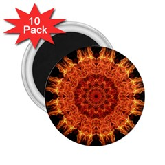 Flaming Sun 2 25  Button Magnet (10 Pack)