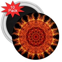 Flaming Sun 3  Button Magnet (10 pack)
