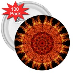 Flaming Sun 3  Button (100 pack)