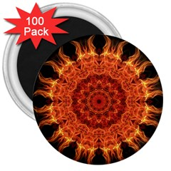 Flaming Sun 3  Button Magnet (100 pack)