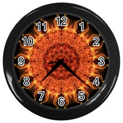 Flaming Sun Wall Clock (black)