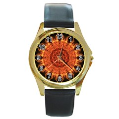 Flaming Sun Round Leather Watch (Gold Rim)