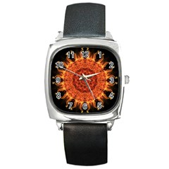 Flaming Sun Square Leather Watch