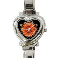 Flaming Sun Heart Italian Charm Watch