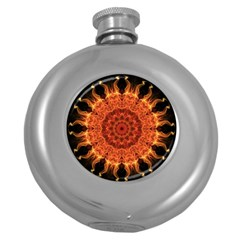 Flaming Sun Hip Flask (Round)