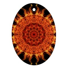 Flaming Sun Oval Ornament (Two Sides)