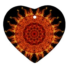 Flaming Sun Heart Ornament (two Sides)