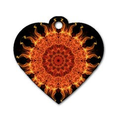 Flaming Sun Dog Tag Heart (One Sided)
