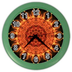 Flaming Sun Wall Clock (color)
