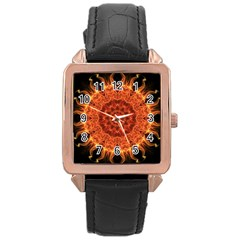 Flaming Sun Rose Gold Leather Watch