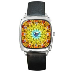 Flower Bouquet Square Leather Watch