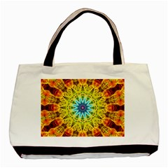 Flower Bouquet Twin Sided Black Tote Bag