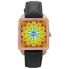 Flower Bouquet Rose Gold Leather Watch