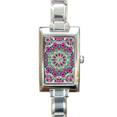 Flower Garden Rectangular Italian Charm Watch