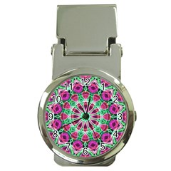 Flower Garden Money Clip With Watch