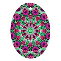 Flower Garden Oval Ornament (two Sides)