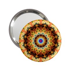 Ochre Burnt Glass Handbag Mirror (2.25 )