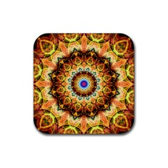 Ochre Burnt Glass Drink Coaster (square)