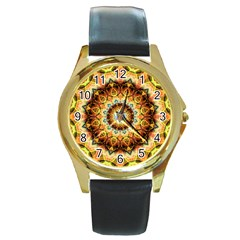 Ochre Burnt Glass Round Leather Watch (Gold Rim)