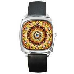 Ochre Burnt Glass Square Leather Watch