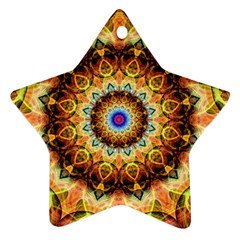Ochre Burnt Glass Star Ornament (Two Sides)