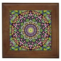 Psychedelic Leaves Mandala Framed Ceramic Tile