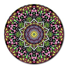 Psychedelic Leaves Mandala 8  Mouse Pad (Round)