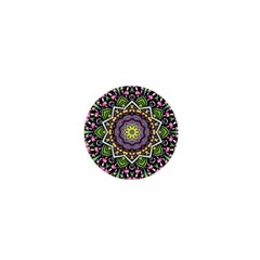 Psychedelic Leaves Mandala 1  Mini Button Magnet