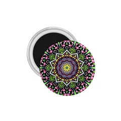 Psychedelic Leaves Mandala 1 75  Button Magnet
