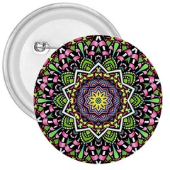 Psychedelic Leaves Mandala 3  Button