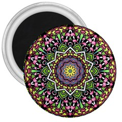 Psychedelic Leaves Mandala 3  Button Magnet
