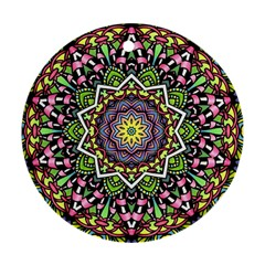 Psychedelic Leaves Mandala Round Ornament