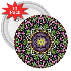Psychedelic Leaves Mandala 3  Button (10 Pack)