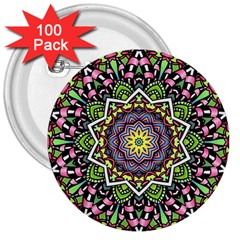Psychedelic Leaves Mandala 3  Button (100 pack)