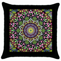 Psychedelic Leaves Mandala Black Throw Pillow Case