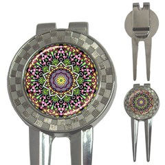 Psychedelic Leaves Mandala Golf Pitchfork & Ball Marker