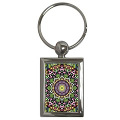 Psychedelic Leaves Mandala Key Chain (Rectangle)