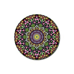 Psychedelic Leaves Mandala Drink Coaster (round)