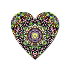 Psychedelic Leaves Mandala Magnet (heart)