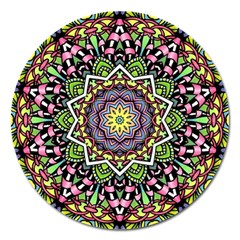 Psychedelic Leaves Mandala Magnet 5  (Round)