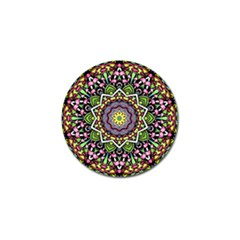 Psychedelic Leaves Mandala Golf Ball Marker