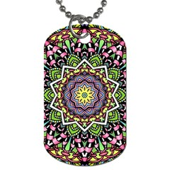 Psychedelic Leaves Mandala Dog Tag (Two-sided)
