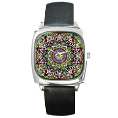 Psychedelic Leaves Mandala Square Leather Watch