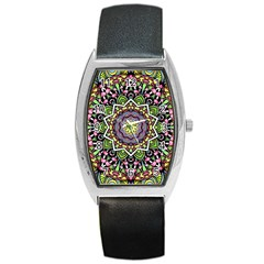 Psychedelic Leaves Mandala Tonneau Leather Watch