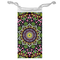 Psychedelic Leaves Mandala Jewelry Bag