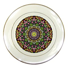 Psychedelic Leaves Mandala Porcelain Display Plate