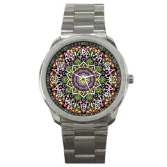 Psychedelic Leaves Mandala Sport Metal Watch